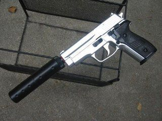 Model 228 Pistol with Silencer   Heavy Silver Airsoft Guns