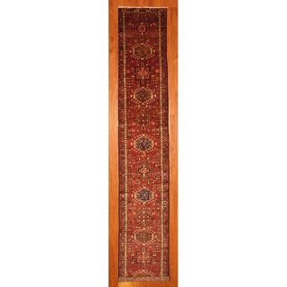 Hand knotted Persian Heriz Red/Navy Wool Rug (27 x 152)