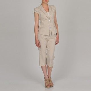 Signature by Larry Levine Womens Cap Sleeve Seersucker Capri Suit