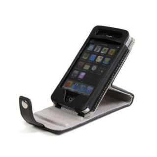 Kroo Spinner Flip Black Leather Case for Apple iPhone 4S / 4 Mobile