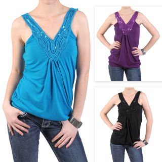 Journee Collection Womens Sleeveless Embellished V neck Top