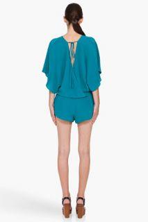 Haute Hippie Turquoise Silk Jumpsuit for women
