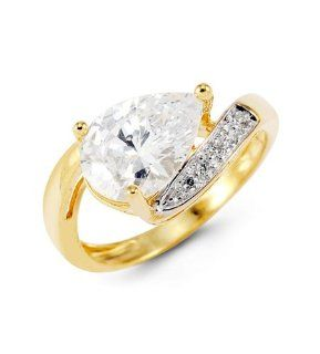 Ladies 14k Yellow Gold Pear Crown Round CZ Bypass Ring