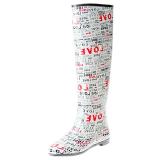 Henry Ferrera Womens Knee high Love Printed Rubber Rain Boots