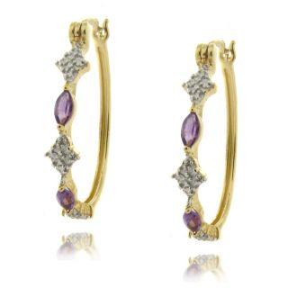 Gem Jolie 18k Gold over Silver Amethyst and Diamond Earrings