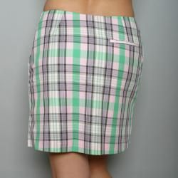 Golftini Womens Pink/ Green Plaid Golf Skort