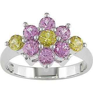14k White Gold Pink Yellow Sapphire Flower Ring