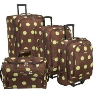 American Flyer Grande Dots 4 Piece Luggage Set   Brown
