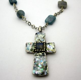 Ancient Roman Glass Labradorite Cross Necklace (Israel)