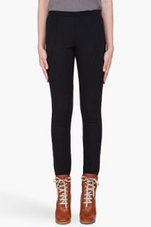 Haute Hippie Black Stretch Diagonal Leggings for women