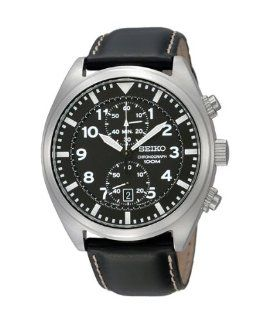 Seiko Mens Stainless Steel Chronograph Quartz Black Dial Strap