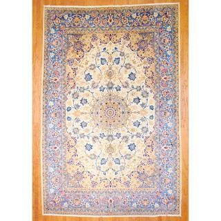 Persian Hand knotted Isfahan Ivory/ Light Blue Wool Rug (85 x 129