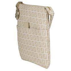 Fendi Ivory Canvas Zucchino Cross body Bag