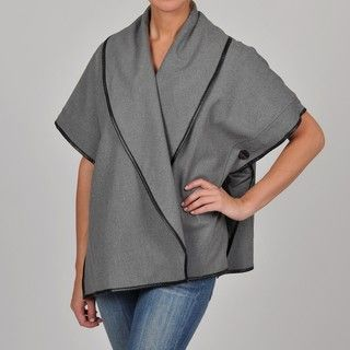 Adrienne Vittadini Womens Sleeveless Side button Poncho