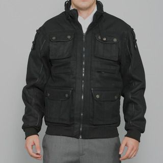 Sportier Mens Black Multi pocket Wool Coat