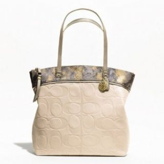 Coach Laura Embossed White Parchment Tote F19696 Clothing