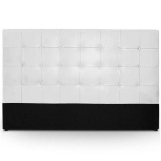DE LIT   DOSSERET Tête de lit capitonnée 180 cm Croute de Cuir blanc