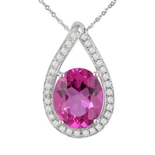 14k White Gold 1/4ct Diamond Pink Topaz Pendant
