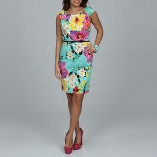 Spense Womens Floral Pleated Belted Dress