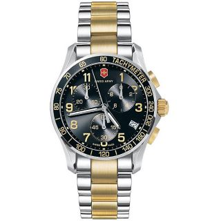 Victorinox Swiss Army Mens Chrono Classic Stainless Steel Gold Two