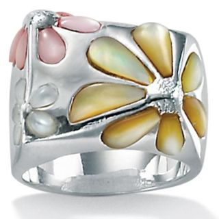 Angelina DAndrea Sterling Silver Mother of Pearl Daisy Ring