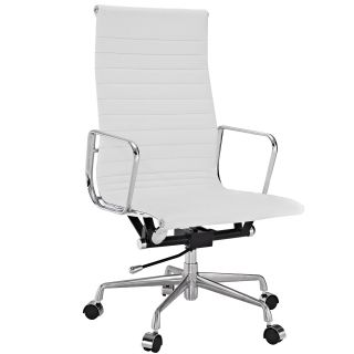 White Genuine Leather Ribbed High Back Office Chair Today $319.99 5.0