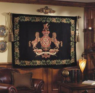 Horse Crest Medium Black Cotton Tapestry