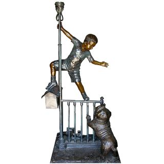 Bronze Boy and Dog Post Box with Light Sculpture