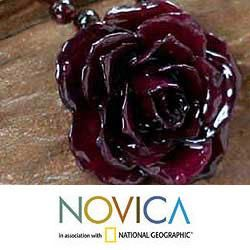 Forever a Rose Natural Rose and Garnet Flower Necklace (Thailand