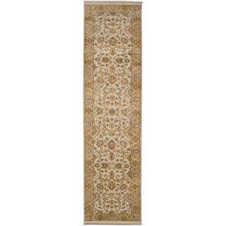 Hand knotted Amaranthine Beige Wool Rug (26 x 10)