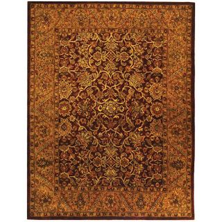 Handmade Taj Mahal Burgundy/ Gold Wool Rug (76 x 96)