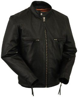 Mens Old School Vented Snap Collar Motorcycle Jacket w/ Dual Inside