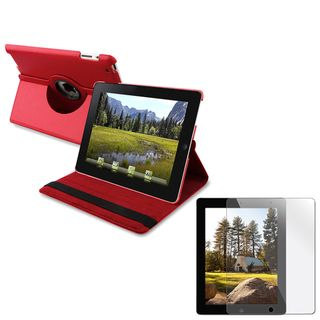 Red 360 Swivel Leather Case Stand/ Screen Protector for Apple iPad 2