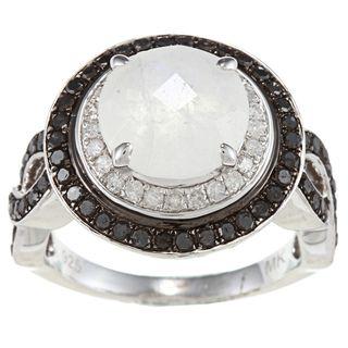 Silver Moonstone and 7/8ct TDW White/ Black Diamond Ring (J K, I2 I3