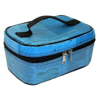 Recycled Plastic Blue Arjun Small Makeup Case (India)