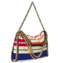Stella McCartney Falabella Striped Canvas Tote Bag