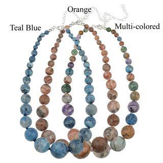 Glitzy Rocks Silver Multi colored Crazy Lace Agate Journey Necklace