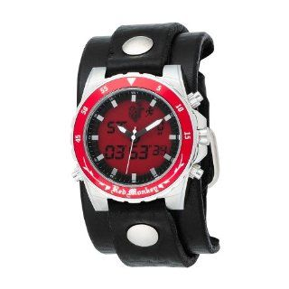 Red Monkey Designs Mens RM230 Scout Ana Digi Black Leather Red Dial