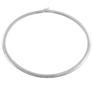 Fremada 14k White Gold 6 mm Dome Omega Necklace