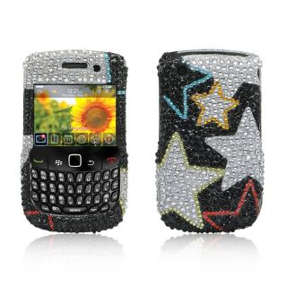 Silver Star BlackBerry Curve 8520 Rhinestone Case