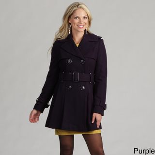 Miss Sixty Womens Belted Wool Pleated Trench Coat