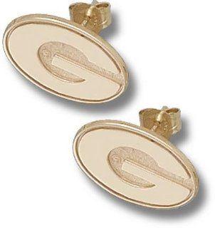 Georgia Bulldogs 3/8 G Post Earrings   10KT Gold