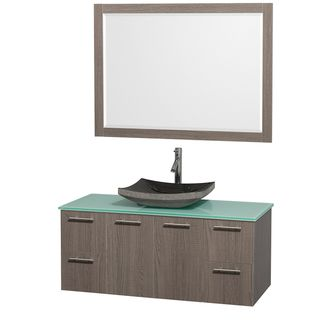 Wyndham Collection Amare 48 inch Grey Oak/ Green Top/ Granite Sink