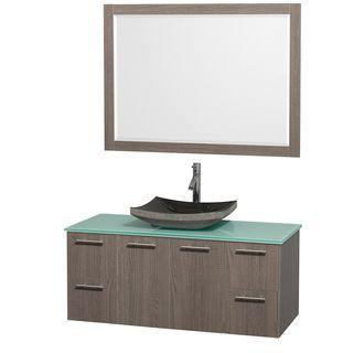 Wyndham Collection Amare 48 inch Grey Oak/ Green Top/ Granite Sink