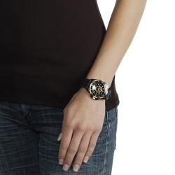 Geneva Platinum Womens Rhinestone accented Black Silicone Watch