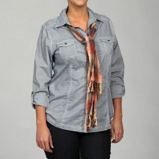 Millenium Womens Plus Size Stripe Top with Scarf FINAL SALE