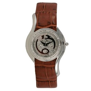 Lucien Piccard Ladies Spiral Diamond Pave Brown Watch