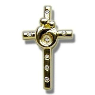 .09 ct Burnished Mother & Child Gold Cross Jewelry