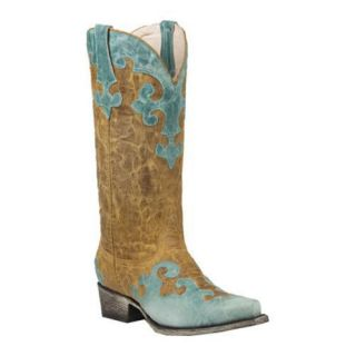 Womens Lane Boots Dawson Turquoise/Yellow Leather