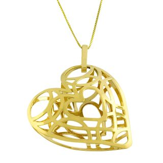 Fremada 14k Yellow Gold Puffed Cut out Heart Necklace